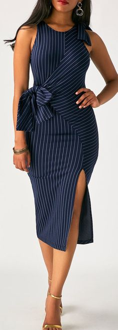 Sleeveless Striped High Waist Side Slit Bodycon Dress For Women, sexy style make you perfect for important occasion, stand out from the crowd, check it out at rosewe.com.