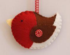 Christmas Robin  Felt Decoration by StripesandStars on Etsy, $6.50