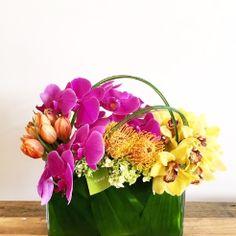 Modern & Tropical Arrangement #orchids #tulips #cymbidiums