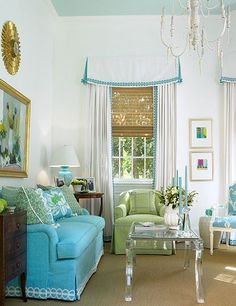 House of Turquoise: Blue Painted Ceilings for guest room House Of Turquoise, Turquoise Sofa, Blue Ceilings, Custom Window Treatments, Painted Floors, Painted Ceilings, Living Spaces, Living Rooms, Family Room