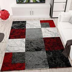 Wohnzimmer Teppich Modern Schwarz Rot Grau Marmor Stein Optik Velours    VIMODA, Maße:120x170