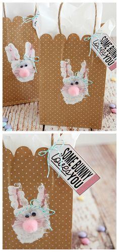 Handprint Bunny Bags   Easter Kids Crafts