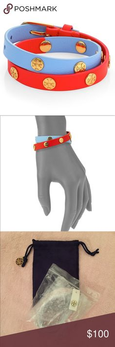 5bbf04cea170 Tory Burch Double Wrap Logo Stud Bracelet 💯% authentic Tory Burch logo stud  colorblock