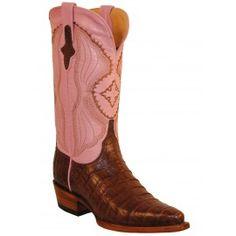 Ferrini Ladies Chocolate/Pink Belly Caiman Crocodile Boots S-Toe 82493-09