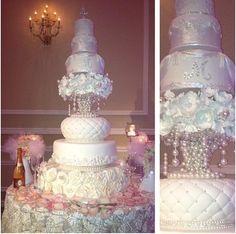 Pink princess wedding cake