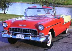 Cars 1955 Chevrolet Bel Air Convertible Red White Fvl