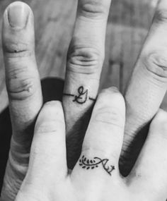 2efd37fcf41c7 Scripted Wedding Band Tattoo Finger Tattoos, Couples Ring Tattoos, Marriage  Tattoos, Couple Tattoos