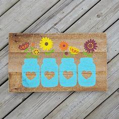 Mason Jar Flower Sign - Rustic Decor - Reclaimed Wood Sign - Barn Board Sign - Farmhouse Decor Modern Farmhouse Country Chic Decor by KACountryDecor on Etsy                                                                                                                                                                                 More