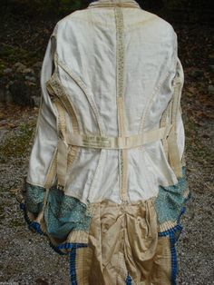 Natural Form Polka Dot Bodice   Hong Kong finished seams on a Victorian bodice circa 1870-1880