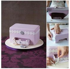 New jewerly box cake tutorial 27 Ideas Cake Decorating Techniques, Cake Decorating Tutorials, Fondant Cakes, Cupcake Cakes, Gift Box Cakes, Cake Structure, Bolo Cake, Cake Shapes, Sculpted Cakes