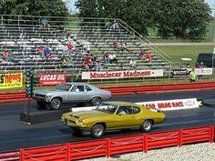 '70 or so GTO in the near lane vs. a '68-'72 Nova in the far lane...