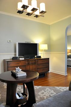wood tv credenza (+ with mounted tv)
