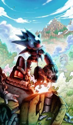 Mecha Sonic vs Knuckles by Nerkin on DeviantArt Sonic The Hedgehog, Hedgehog Art, Silver The Hedgehog, Shadow The Hedgehog, Sonic Vs Knuckles, Game Sonic, Naruto Vs Sasuke, Sonic Franchise, Fanart
