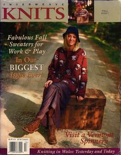 INTERWEAVE KNITS Fall 2001 Sweaters Mousetrap Socks Floral Tote Scarf Mitts VTNS #InterweaveKnits #KnittingPatterns