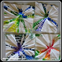 no dye tie dye - but could use fabric markers. Like the look may be fun to try with dye. Wrap around something round and put lots of rubber bands around it. Fun Crafts, Diy And Crafts, Crafts For Kids, Arts And Crafts, How To Tie Dye, How To Dye Fabric, Craft Projects, Projects To Try, Sewing Projects