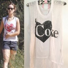 "Chaser ""I ❤️ Coke"" Sleeveless Top Sz Sm Bought @ DASH store - worn once, like new. Seen on Olivia Wilde! Size S Burnout white with black graphic/lettering. Sleeveless Raw edge, oversized arm holes.  50% Cotton 50% Polyester - soft, lightweight, semi-sheer OFFERS WELCOME! ❤️ [tags 4 exposure: nasty gal nastygal shopbop revolve Nordstrom forever21 forever 21 urban outfitters Bloomingdales wildfox couture] ASOS Tops Muscle Tees"