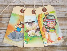 Set of Handmade Gift Tags VINTAGE Storybook by thejellybeanstudio