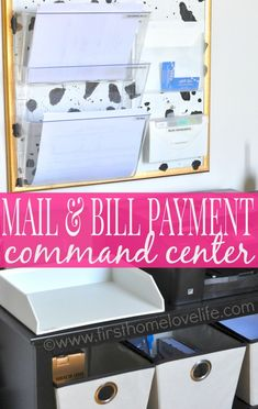 Learn how to set up a mail and bill payment center in your home. Keep track of your bills, and control the paper clutter for good! #diy #organize