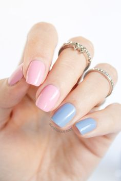 Pretty Blue and Pink Nails for Spring: http://sonailicious.com/essie-rock-the-boat-essie-pink-about-it-review/