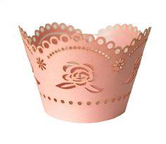 Cupcake Wrapper ou Saia de Cupcake Renda Rosa.