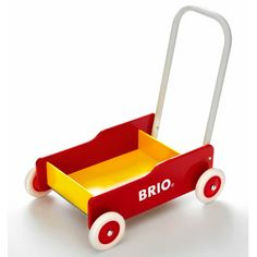 Fun wagon for walkers to push around. They can be standing up while they push it.
