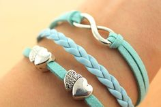 I found 'infinity beads of love heart bracelet silver charm with blue braid leather cord' on Wish, check it out!