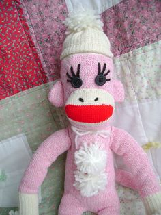 Traditional Handmade Pink Sock Monkey by DeedleDeeCreations