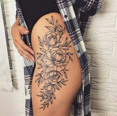 Tattoo history, tattoos with meaning, tattoos for girls, – Jessica Calabrese – Tattooo Side Thigh Tattoos Women, Side Hip Tattoos, Hip Thigh Tattoos, Floral Thigh Tattoos, Dope Tattoos, Badass Tattoos, Pretty Tattoos, Body Art Tattoos, Girl Tattoos