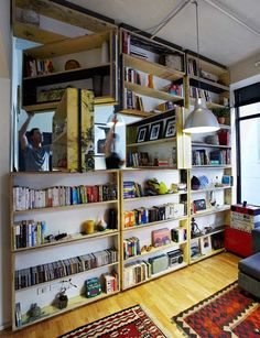 rotating bookcase. #shelves #organization #diy #storage #roomdivider #upcycle #reclaim #recycle #library