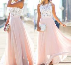 Evening Gown,Chiffon Evening Dresses,Long Formal Dress,Women Dress,Appliques Pink