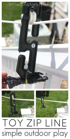 Toy Zip Line Homemade Outdoor Zip Line Play Idea