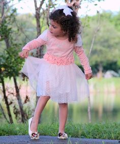 Take a look at this Pink & White Lace Holiday Dress - Toddler & Girls by Mia Belle Baby on #zulily today!