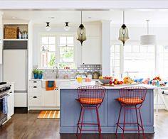 Blaue Farbpalette kücheninsel barhocker leuchter küche spüle