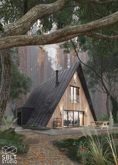 Haus design Rustic Cabin Home - Wohnen und Ideen Your Style, Your Budget Tired of ogling the latest Tiny House Cabin, Tiny House Design, Cabin Homes, Cabin Design, Cottage House, Cabins In The Woods, House In The Woods, Rustic Houses Exterior, Triangle House