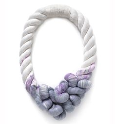 """Fiber and Textile, Tanya Aguiniga, Artist, Unraveled Rope Necklace, dip-dyed cotton rope, bottom of necklace hangs to 13""""."""