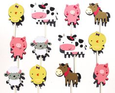 Items similar to 12 Cute Girly Farm Animal Themed Cupcake Toppers with Bows on Etsy Farm Party Decorations, Themed Cupcakes, Farm Animals, Girly, Unique Jewelry, Handmade Gifts, Cute, Etsy, Vintage
