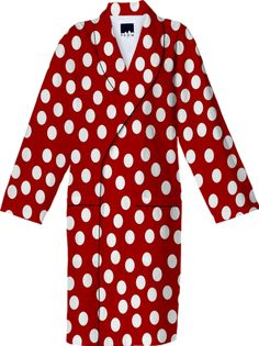 #White #Polka #Dots #Red Cotton #Robe from Print All Over Me