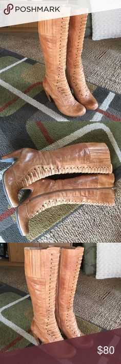 "Miz Mooz boots Style is solisheel 3.5""boot 18"" top to floorside ziplight signs of wearleather upper Miz Mooz Shoes Heeled Boots"