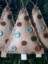 3 NEW HANDMADE RUSTIC PRIMITIVE COUNTRY STYLE BURLAP TREES CHRISTMAS ORNAMENTS
