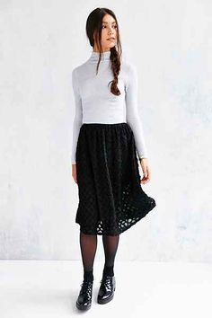 Kimchi Blue Floral Applique Midi Skirt - Urban Outfitters