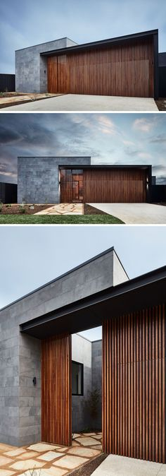 Hidden garage - This modern house has a facade of horizontal bluestone slabs and vertical natural hardwood. The front door to the home blends in with the vertical wood slats, creating a modern exterior. Modern Entrance, House Entrance, Entrance Ideas, Door Ideas, Entrance Decor, Modern House Facades, Modern House Design, Modern Wood House, Modern Contemporary House