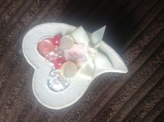 Shabby chic cream heart with pink and cream button by SewingNikki, sold