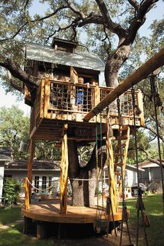Ten-year-old Alex runs the show at this trapdoor, swing, and lunch bucket-equipped treetop mini barn.