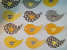 40 yellow and gray polka dot and glitter bird die cut- small wish cards, baby shower, customize colors, unisex, wedding