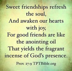 ❥ Sweet friendships refresh the soul~ Proverbs 27:9
