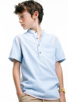 Boys Striped Shirt with Chino Style Twill Bermuda Shorts.