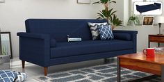 Buy Hover Fabric Sofa Cum Bed (Blue) Online in India - Wooden Street Sofa Bed Design, Blue Bedding, Leather Sofa Bed, Bed Design, Luxury Living Room, Sofa, Single Sofa Bed, Fabric Sofa, Home Decor