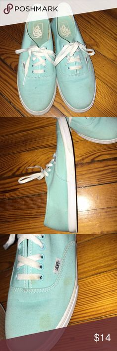 Teal Vans Super cute teal vans! These vans are still in great condition and they are not over worn. Minor staining on the fabric, but a run through the wash should improve the look. Size 7.5 in men's and 9 in women! Feel free to make an offer 😊 Vans Shoes