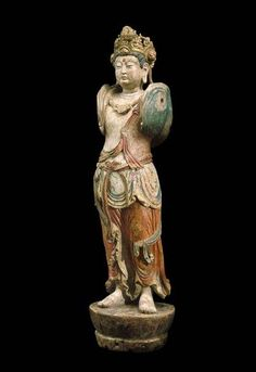 """Bodhisattva Guanyin. Afzelia wood with gold and polychrome pigments, China, Jin Dynasty. Dated """"5th month of the Jiachen year of the Dading era"""", (May 1184). Height : 131 cm."""