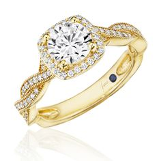 Cushion Halo with Graceful Pave Twist Band with Millgrain Detail Engagement Ring (Style # S2754YG) #EngagementRings #StLouisJewelry #StLouis #DiamondRings